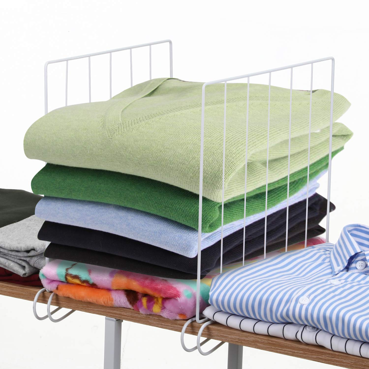MaidMAX 8 Pack Wire Shelf Dividers for Closets, Closet Shelf Separators for 1-Inch Thick Shelves, 11x11 Inches by MaidMAX