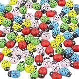 DEKOWEAR Marienkäfer selbstklebend mit Klebepunkt 100 Stück zum dekorieren aus Holz, Rot oder Bunt, 11 mm als Glückskäfer - Handgearbeiteter Glücksbringer Bunt