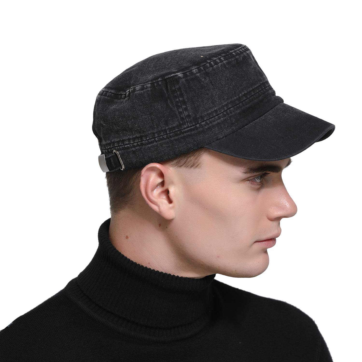 8ae67dad286 Free Bird 99 Low Profile Cotton Flat Top Peaked Army Military Cadet Cap Hat  (Black(13442))  Amazon.ca  Clothing   Accessories