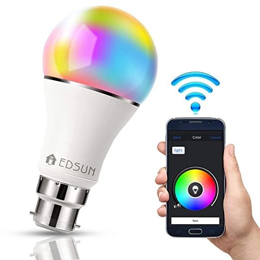 EDSUN Smart LED Bulb Alexa, Google Home compatible : WIFI Light, B22 RGBW  Colour Changing 60W Equivalent, Timing Function, Remote Controlled by
