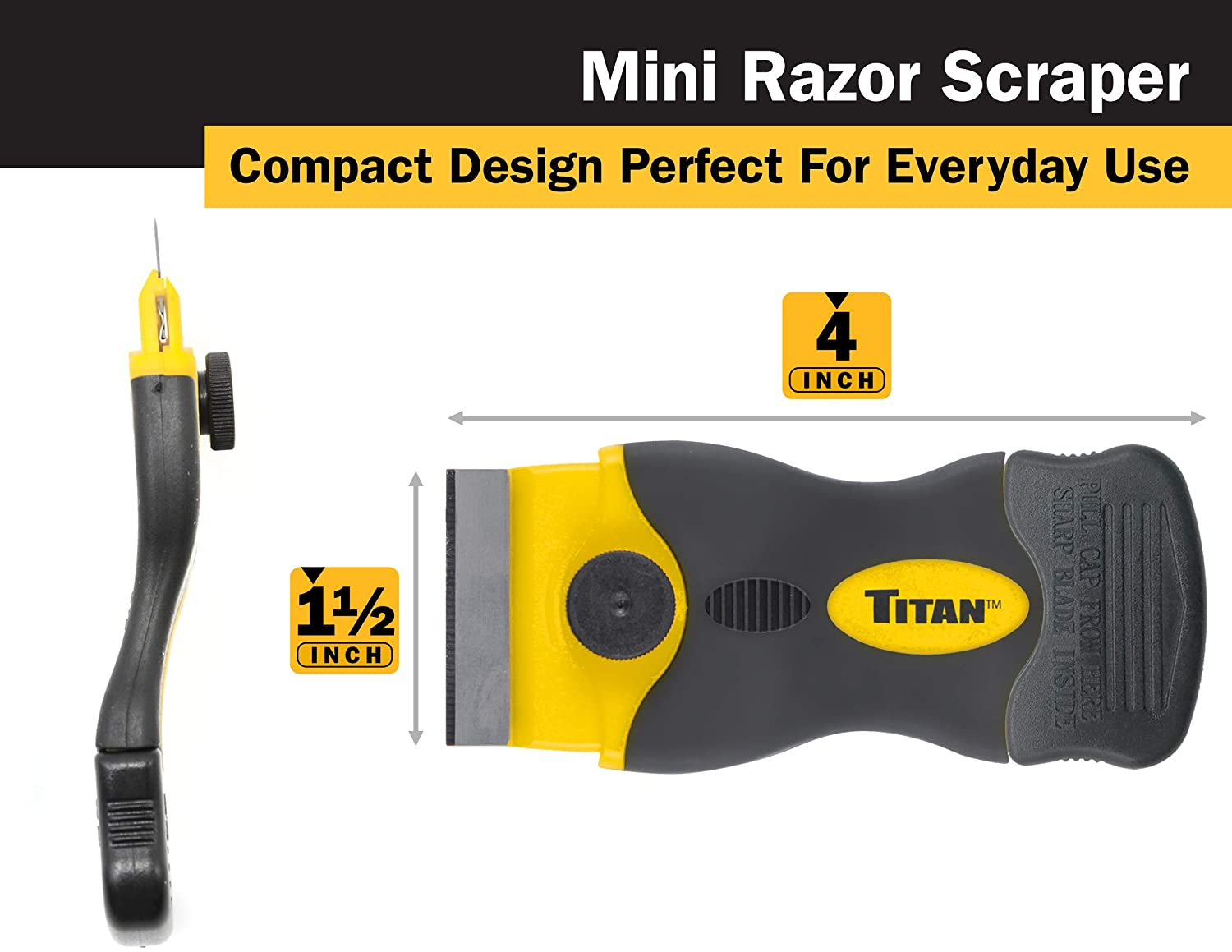Titan 12031 Mini Razor Scraper with 22 Extra-Heavy Duty Razor Blades
