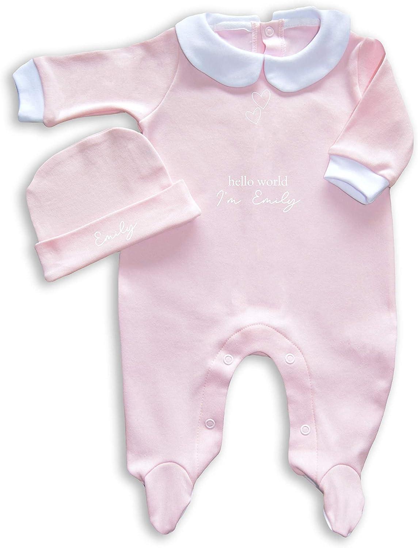mini royals Personalised Hello World Newborn Baby Outfit Babygrow Set Girls Boys