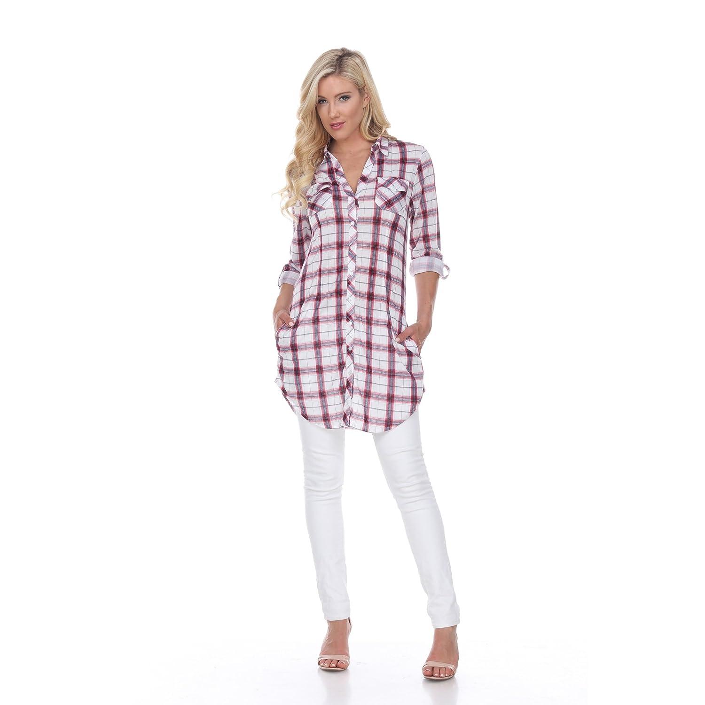 9fe7849806c White Mark Women s Piper Plaid Tunic Top at Amazon Women s Clothing store