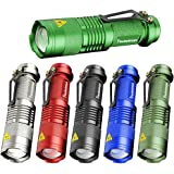 Pack of 6,Pocketman 7W 300LM SK-68 3 Modes Mini Q5 LED Flashlight Torch Tactical Lamp Adjustable Focus Zoomable Light