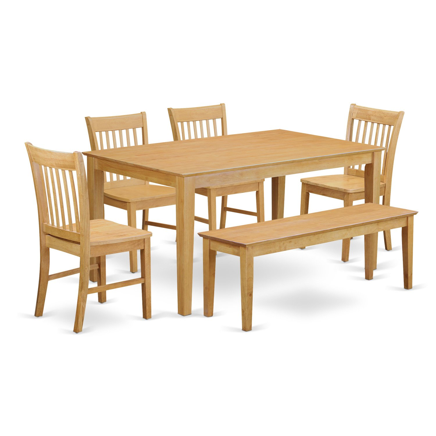 CANO6-OAK-W 6-Pc Dining room set with bench- Dining Table and 4 Chairs and Bench