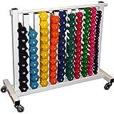 Neoprene Dumbbell Set- 88 Weights w/ Free Rack (on 4 caster wheels)