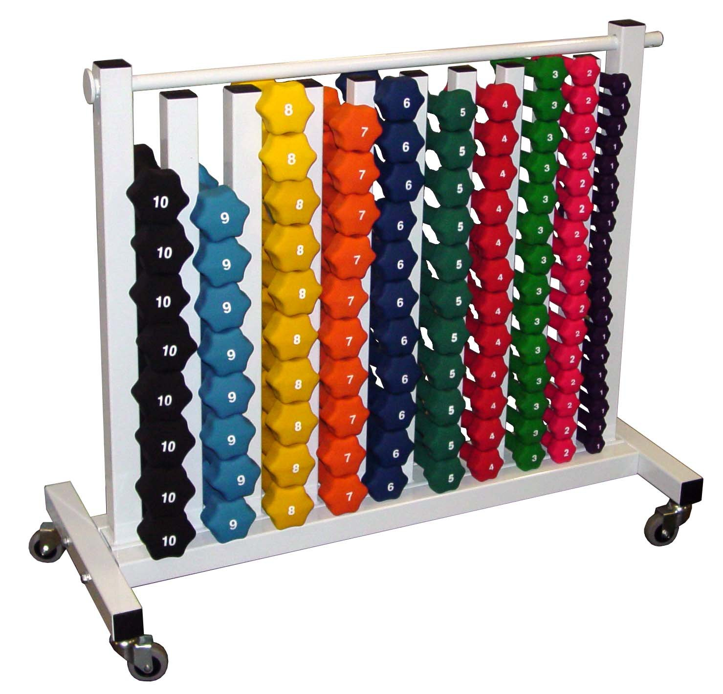 Neoprene Dumbbell Set- 88 Weights w/ Free Rack (on 4 caster wheels) by Ader Sporting Goods