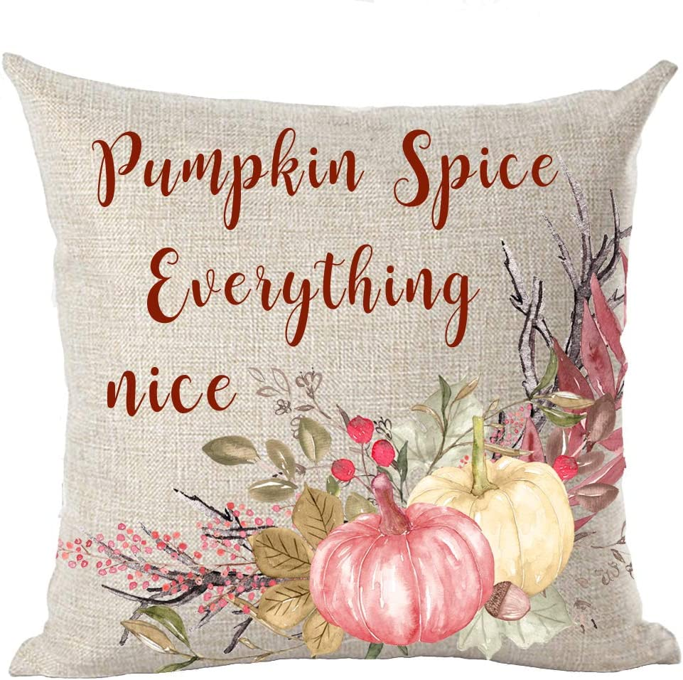 Autumn Fall Maple Leaves Pumpkin Spice and Everything Nice Watercolor Pink Pumpkin Cotton Linen Throw Pillow Cover Cushion Case Home Chair Office Decorative Square 18 X 18 inches