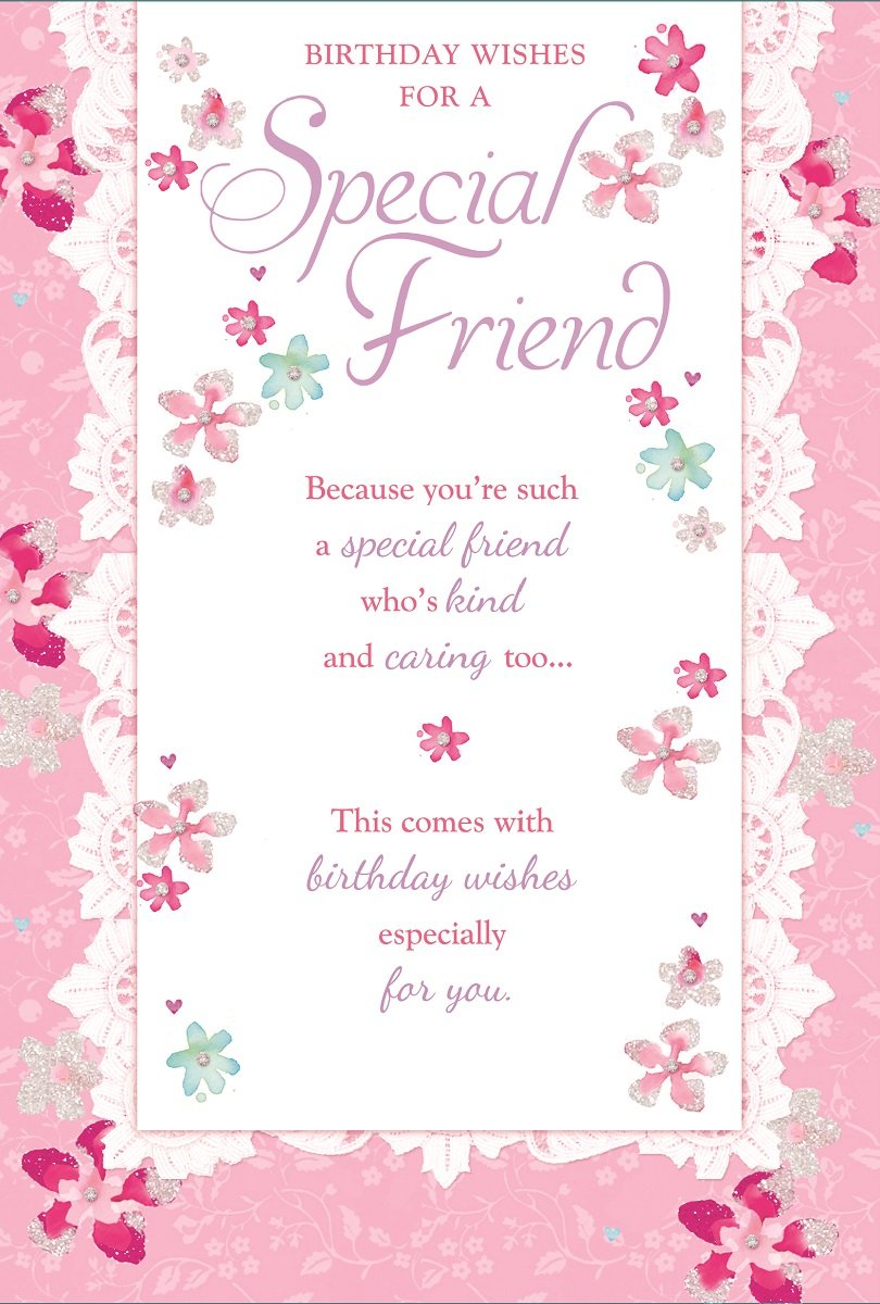 Special Friend Birthday Card Bright Pink Flowers Little Hearts