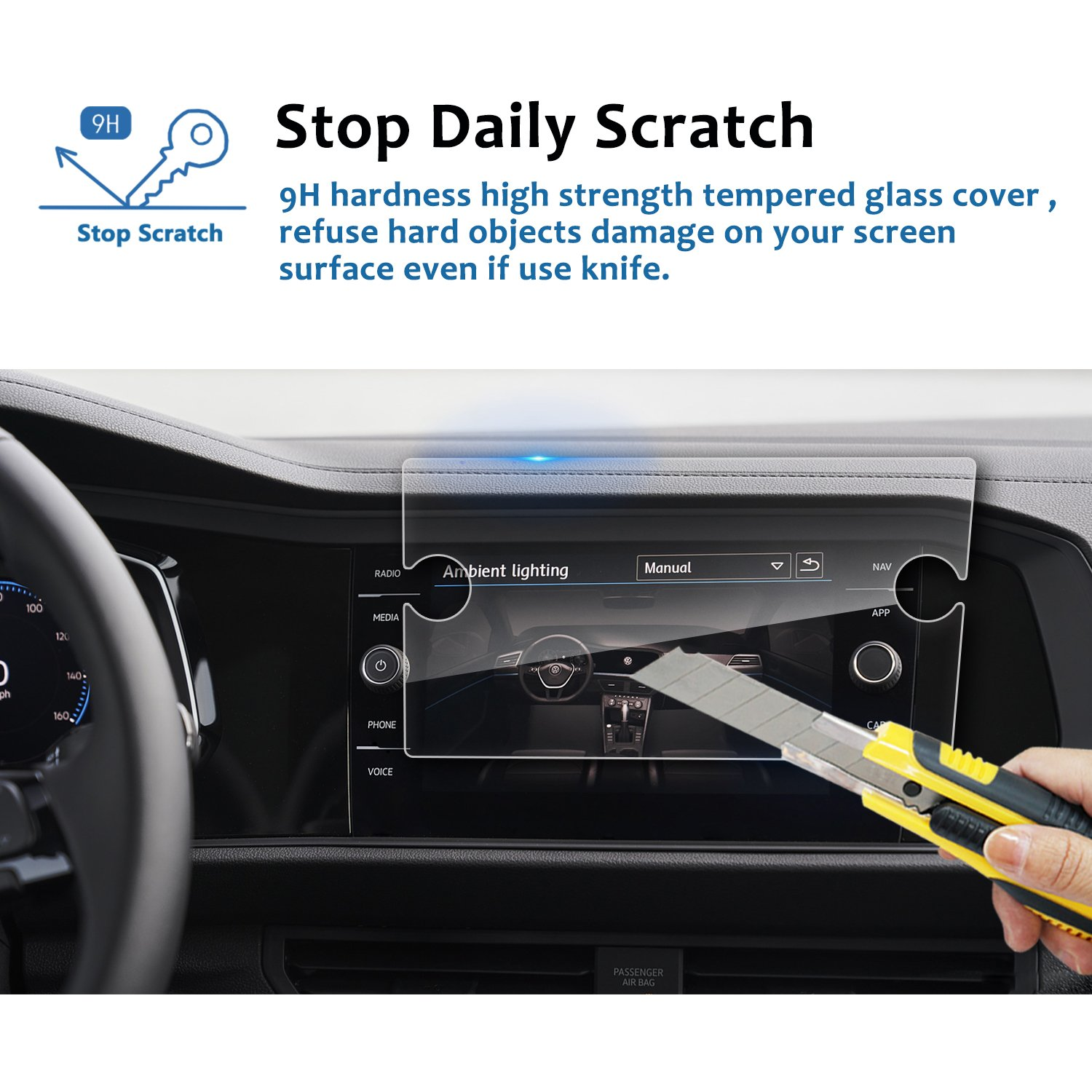 LFOTPP Car Navigation Screen Protector for 2019 Jetta GLI 8-Inch,Clear Tempered Glass Infotainment Display in-Dash Center Touch Screen Protector ...