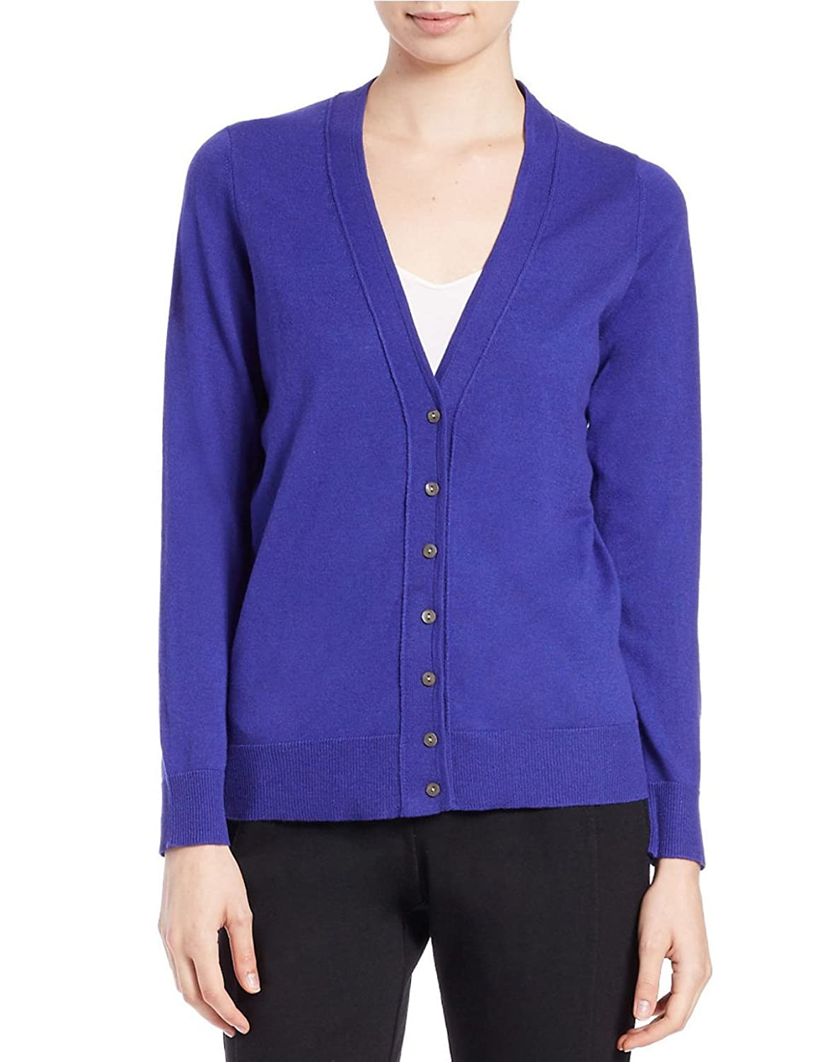 Eileen fisher Button-front Wool-blend Cardigan in Purple (Violet)
