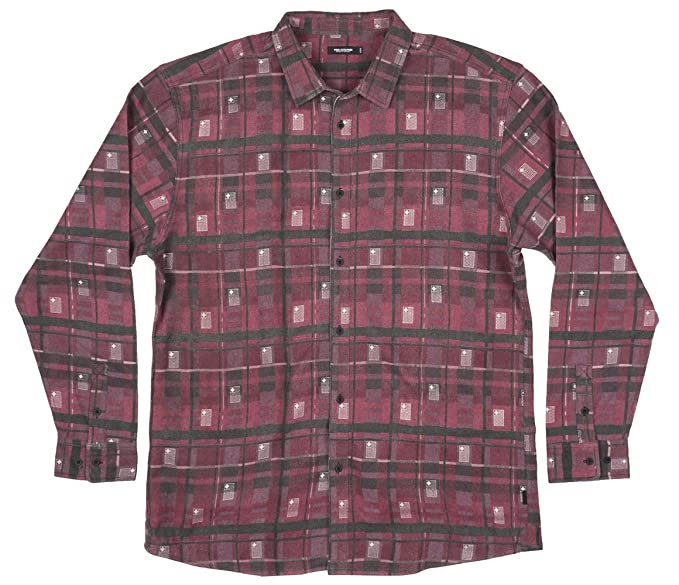 Pink Dolphin Flag Flannel Mens Ls Wool Woven In Maroon At Amazon