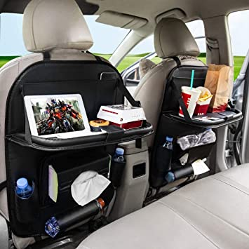 FLY OCEAN Car Backseat Organizers, Back Seat Organizer with Tray and Storage Leather for Kids Toy Bottle Drink Vehicles Travel Accessories (Black 2 Pack): Amazon.in: Car & Motorbike