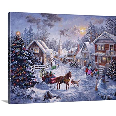 Merry Christmas Canvas Wall Art Print, 16 x12 x1.25