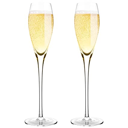 amazon com hand blown crystal champagne flutes bella vino