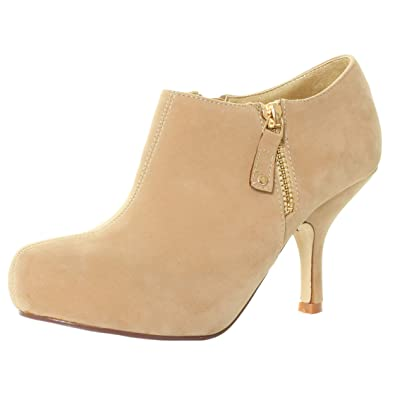d42f54156b4 BY CA81 TILLY LONDON WOMENS CONCEALED PLATFORM BOOTIES MID KITTEN HEEL HIGH  COURT SHOES ZIPS ANKLE