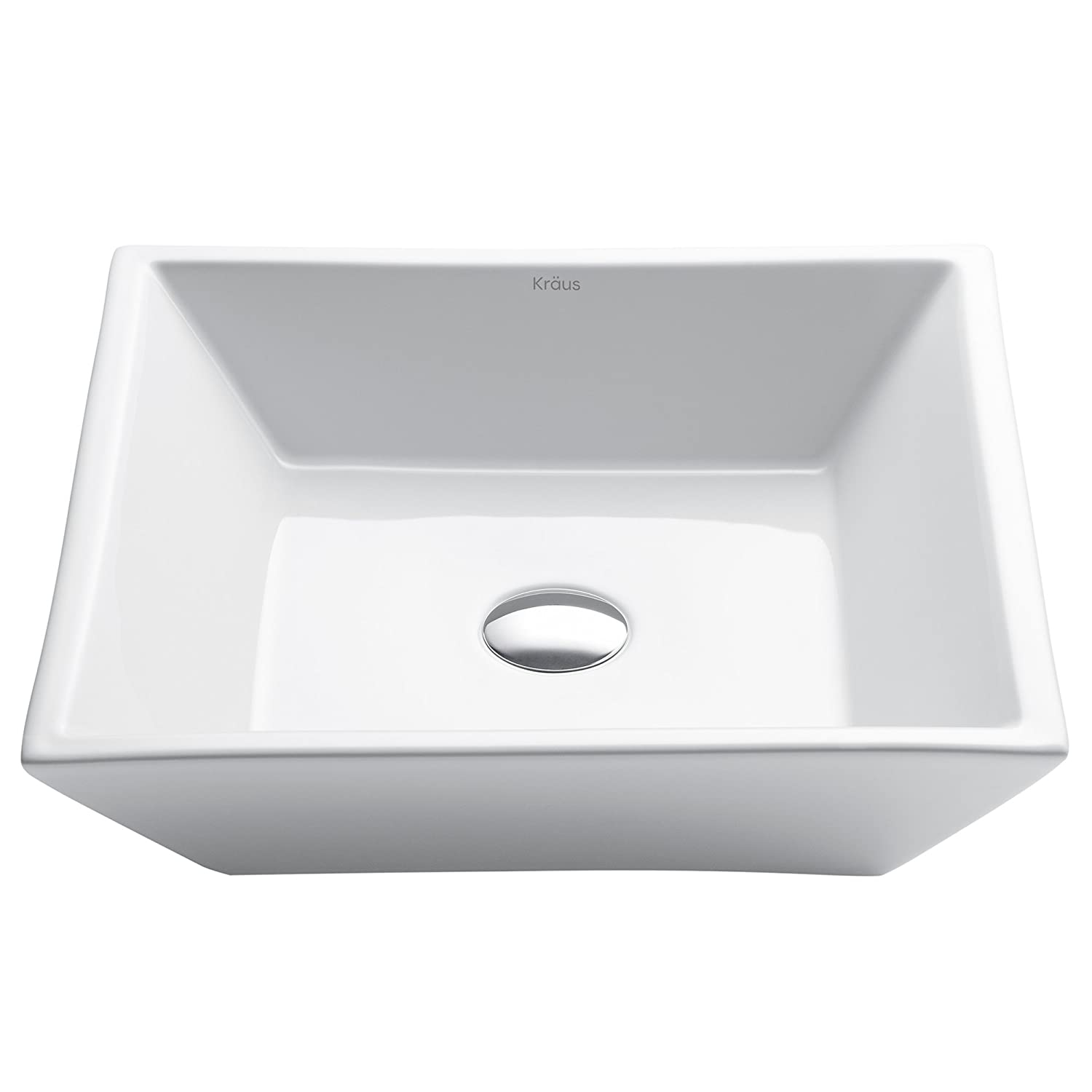 Kraus KCV-125 White Square Ceramic Bathroom Sink by Kraus B00590X77E