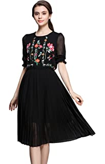 6d0713cac3 Women s Short Sleeve Mexican Embroidered Floral Pleated Midi A-line Cocktail  Dress