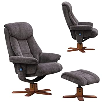 The Exmouth   Fabric Massage Swivel Recliner Chair In Charcoal