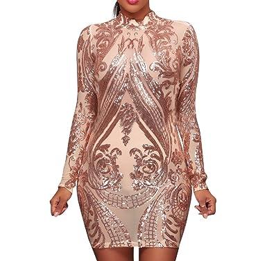 AllForYou Damen Kleider Elegant Pailletten Langarm Etuikleid Kurz festlich  Abendkleid Cocktailkleid Minikleid Partykleid (S, eecfbc833e