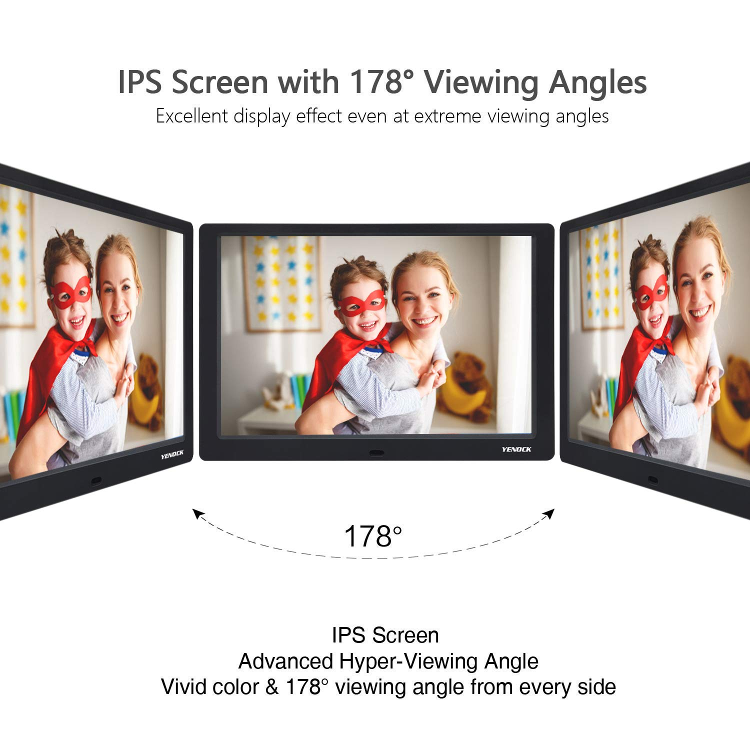 YENOCK Digital Picture Frame, 10.1 Inch IPS Screen Digital Photo Frame 1280×800 Pixels High Resolution Photo/Music/HD Video Player/Calendar/Alarm Auto On/Off Advertising Player with Remote Control by YENOCK (Image #3)