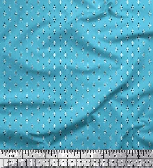 Soimoi Azul dril de algodon Tela punto y deja pequeño motivo tela ...