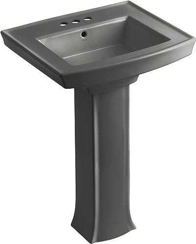 KOHLER K-2359-4-58 Archer Pedestal Bathroom Sink with 4 Centers, Thunder Grey