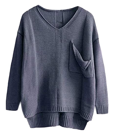 49fb8a7c509 BAYYWomen Relaxed V Neck Pocketed Knit Cut Out Long Sleeve Sweater Pullover  Dark Grey XS