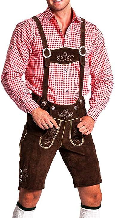 Frohsinn - Pantalón corto de piel con tirantes extraíbles para traje regional. Marrón claro, marrón oscuro y negro: Amazon.es: Ropa y accesorios