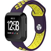 Fitbit Versa Bands, Soft Silicone Sport Band Replacement with Ventilation Holes Breathable Strap Bands for New Fitbit Versa Smart Fitness Watch Women Men(Purple&Yellow)