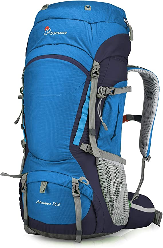 MOUNTAINTOP 80L/55L Hiking Internal Frame Backpack for Men Women with Rain Cover