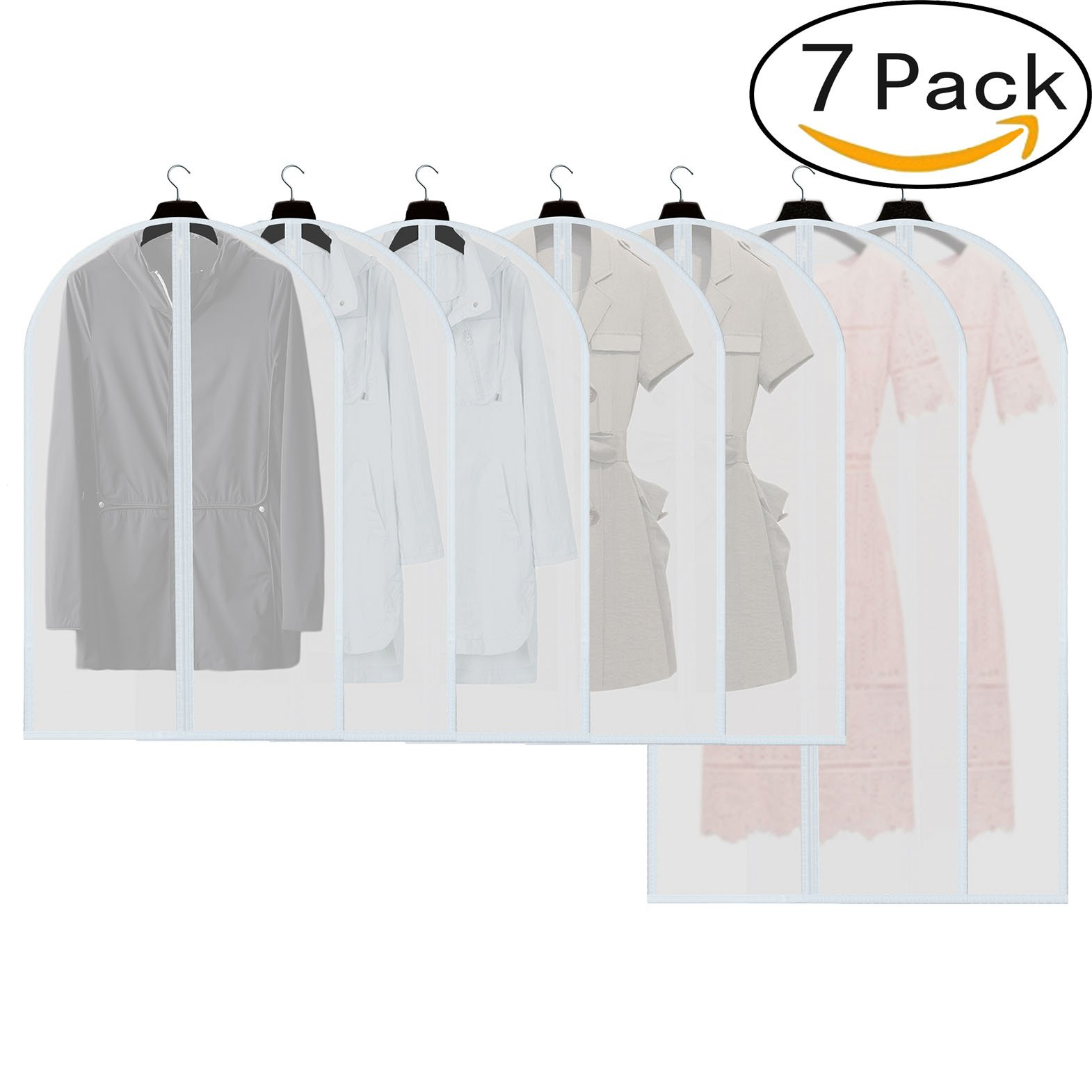 HOKEMP Dust Cover Garment Bag Lightweight Clear Suit Bag Full Zipper Cloth Cover Closet Storage For Coat Dress Travel Garment Cover -White 7 Pack