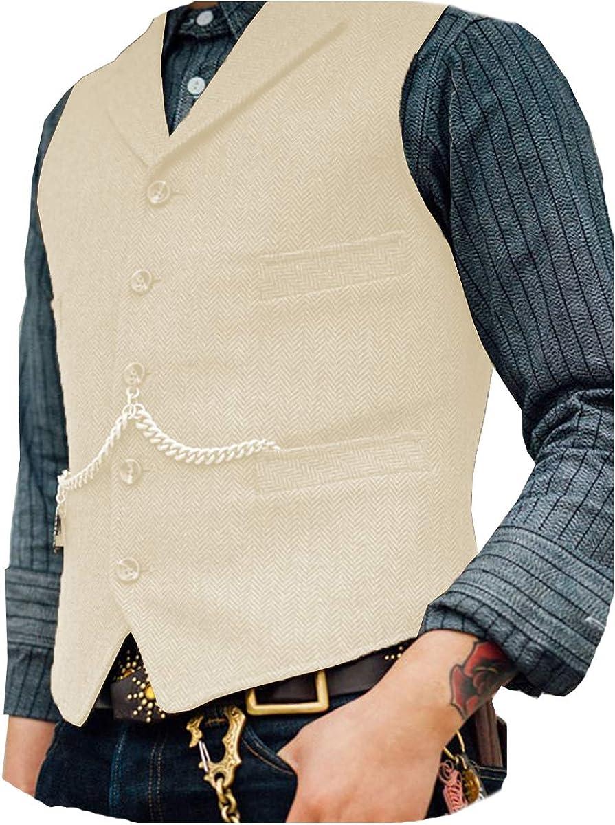 Solove-Suit Men's Classic Henringbone Pattern Suit Vest Notch Lapel Slim Fit Waistcoat