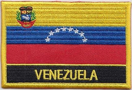 De la bandera de Venezuela Rectangular parche bordado insignia/Sew encendido o ropa - diseño