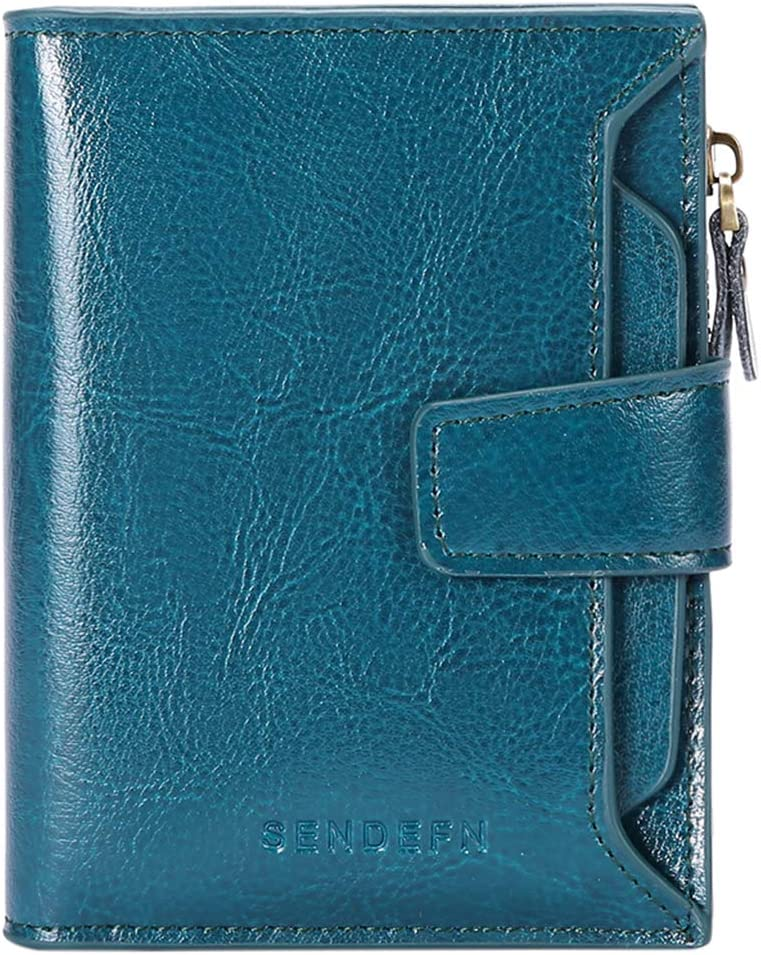 FALAN MULE RFID Leather Wallet for Women Ladies Card Holder Wallet Small Compact Bifold Pocket Wallet with ID Window (Peacock Blue)