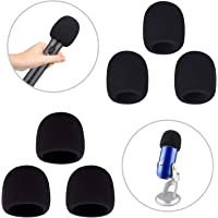 Aokeo Thickened Foam Microphone Windshield Filter used for Handheld microphones, Blue Yeti, Yeti Pro Condenser microphones and Other Medium and Large Microphones (Black, 6 Pack)