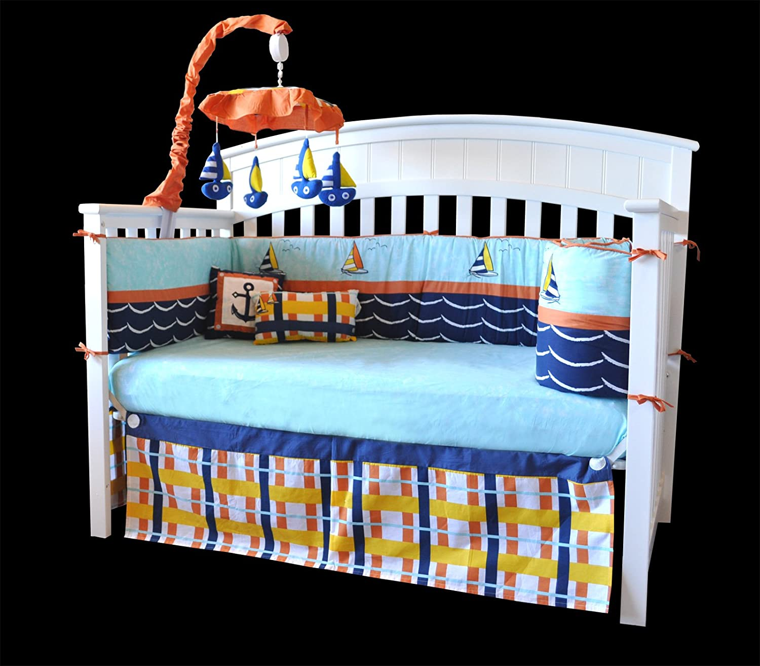 plaid houndstooth and crib nursery a in nautical grey navy pin cribs bedding
