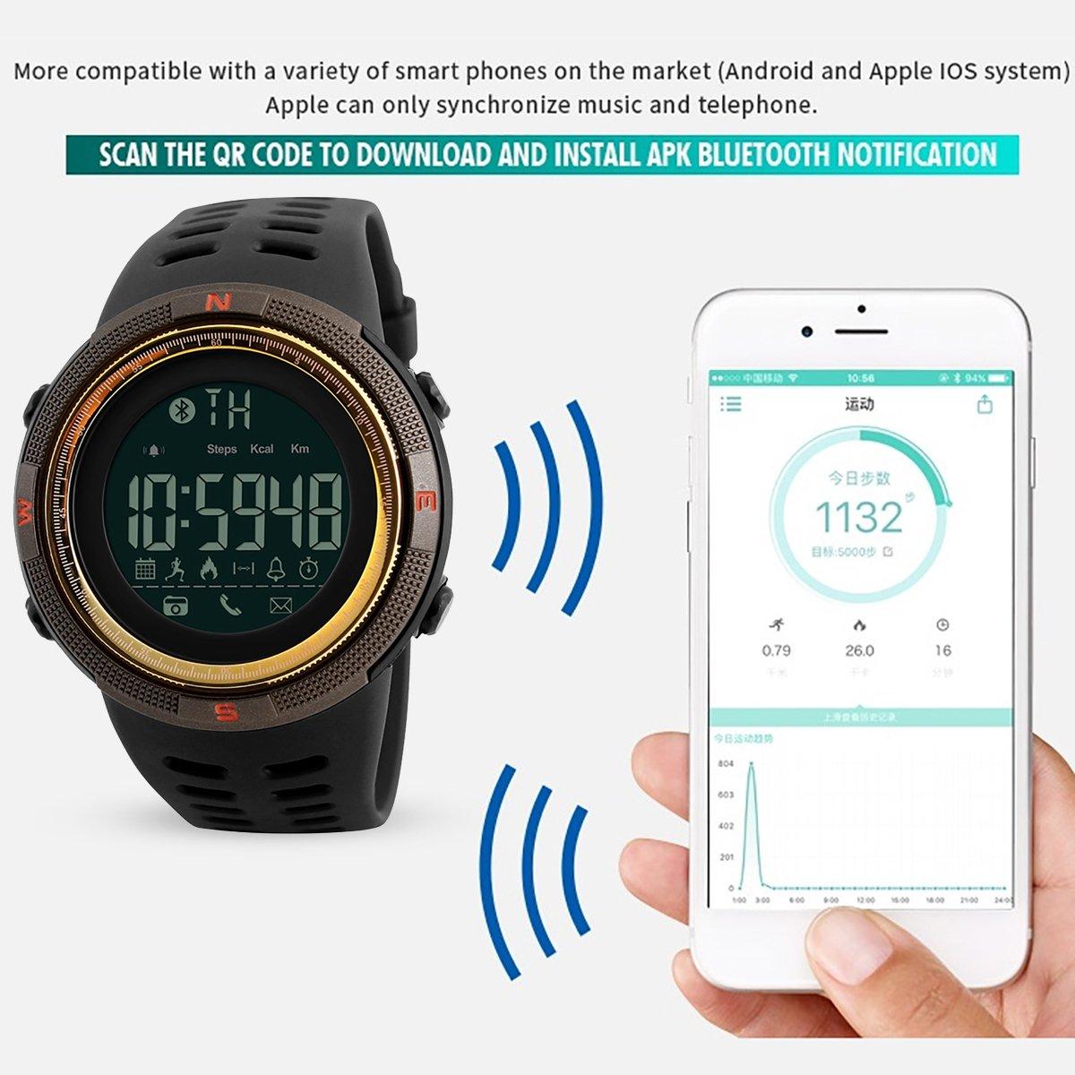 Modiwen Reloj digital inteligente deportivo para hombres, moda, Bluetooth, calorías, podómetro, cronógrafo, para exteriores, resistente al agua 5 bar, ...