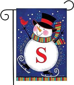 """Briarwood Lane Winter Snowman Monogram Letter S Garden Flag 12.5"""" x 18"""""""