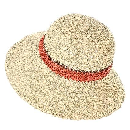 LHA Sombrero Sombrero Protector Solar Sombrero japonés Pescador Sombrero  Femenino de Verano Sombrero de Paja Plegable ee95c60a543a