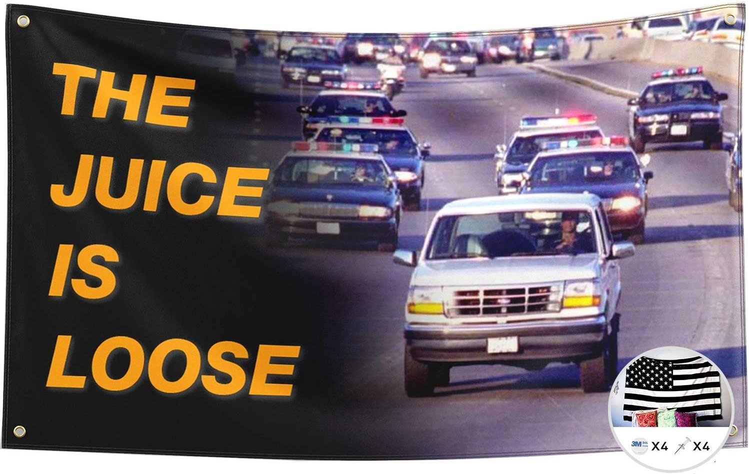 Probsin The Juice is Loose Flag OJ Simpson 3x5 Feet Banner,Funny Poster UV Resistance Fading /& Durable Man Cave Wall Flag with Brass Grommets for College Dorm Room Decor,Outdoor,Parties,Gift