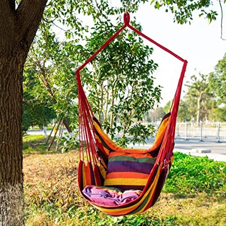 lindames Silla giratoria de Lona Silla de Cuerda Colgante Jardín Interior al Aire Libre Hamacas: Amazon.es: Hogar