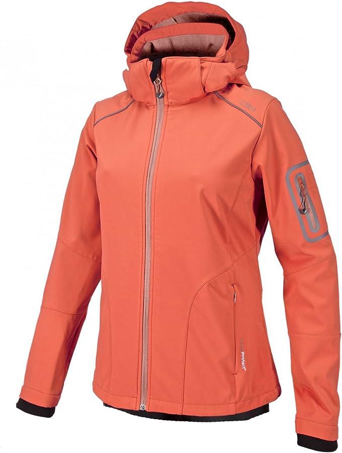 CMP fleecepullover funzione Shirt colletto superiore parte arancione Stretch Caldo