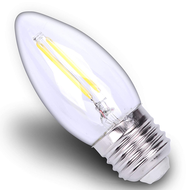 12 Volt 2W Bulb E26 DC LED B10 S14 Torpedo Candle Filament C35 Light Medium Base Lamp Low Voltage Chandelier Rain Drop Landscape String Lighting 12V =11 Watt Incandescent Soft Warm White 3000k 6Pack