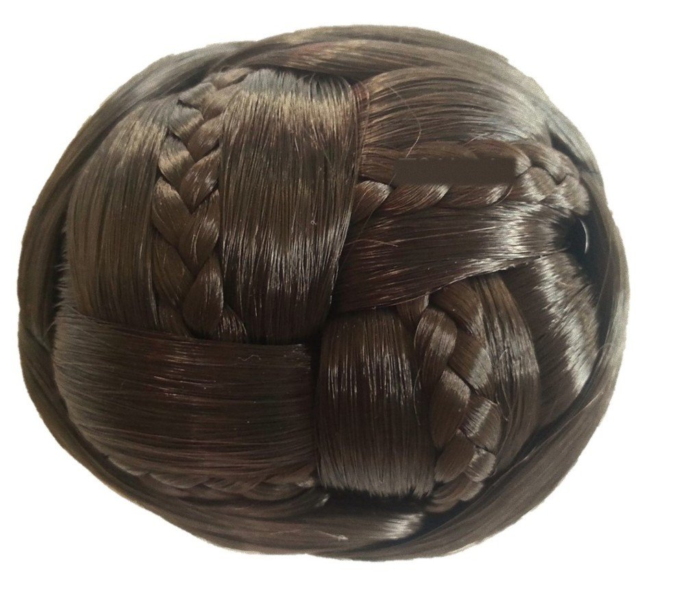 Easy mounting chignon with net bun hairpieces braid ornament crochet including wig ballroom dance (Brown)