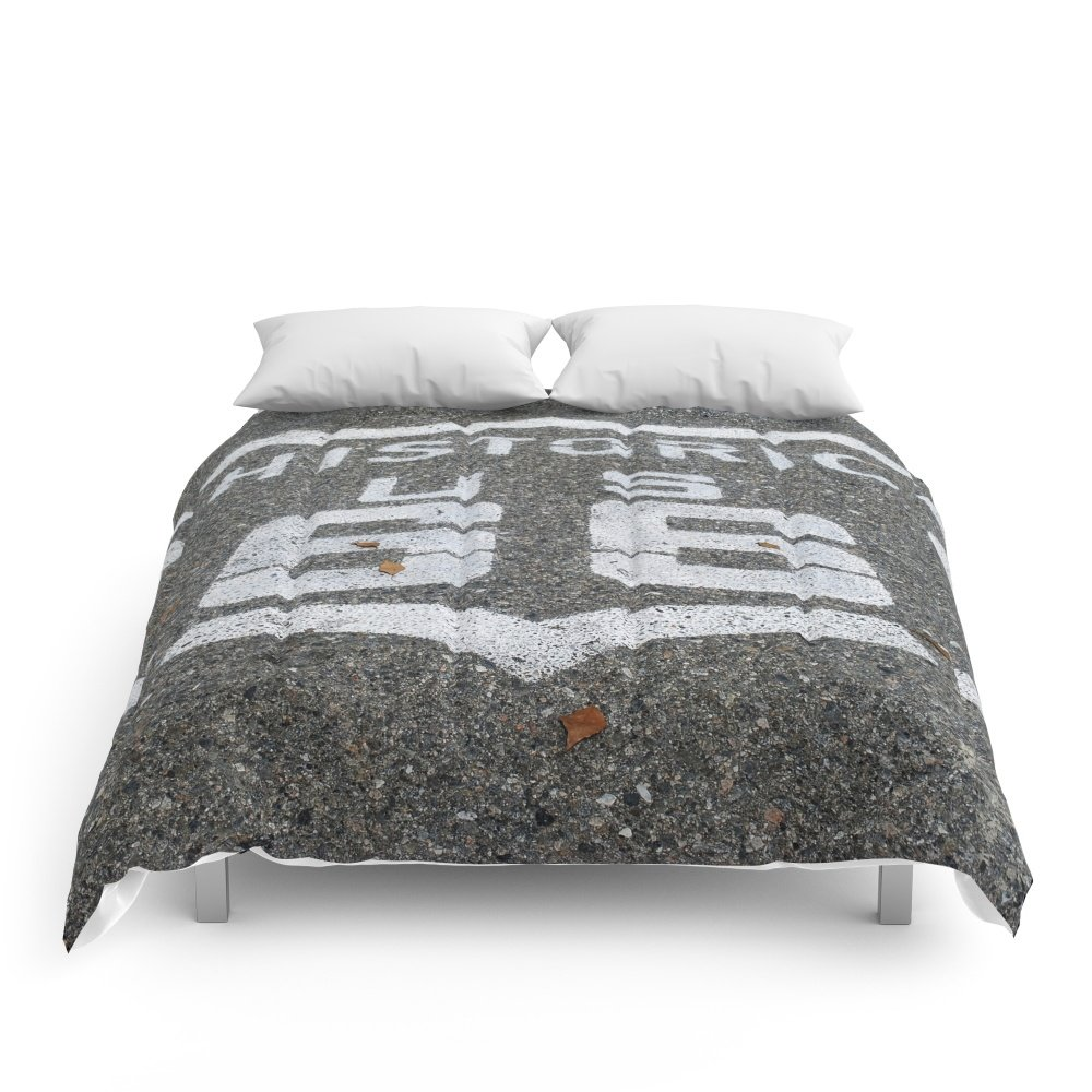 Society6 Route 66 Sign On The Road Comforters Full: 79'' x 79''