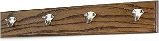 "product image for PegandRail Oak Coat Rack with Satin Nickel Single Style Hooks (Walnut, 20"" x 3.5"" with 4 Hooks)"