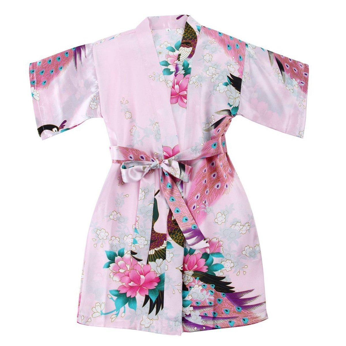 TOLLION Girls' Peacock Satin Kimono Robe Bathrobe Nightgown Wrap Sleepwear (4T, Pink)