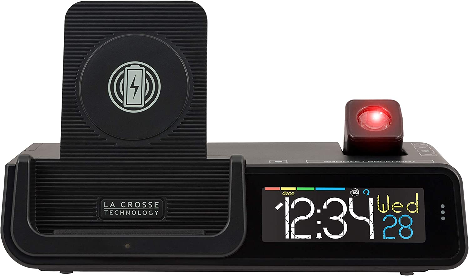 La Crosse Technology C80765-INT Wattz 3-n-1 Projection Alarm Clock and Wireless Charger, Black