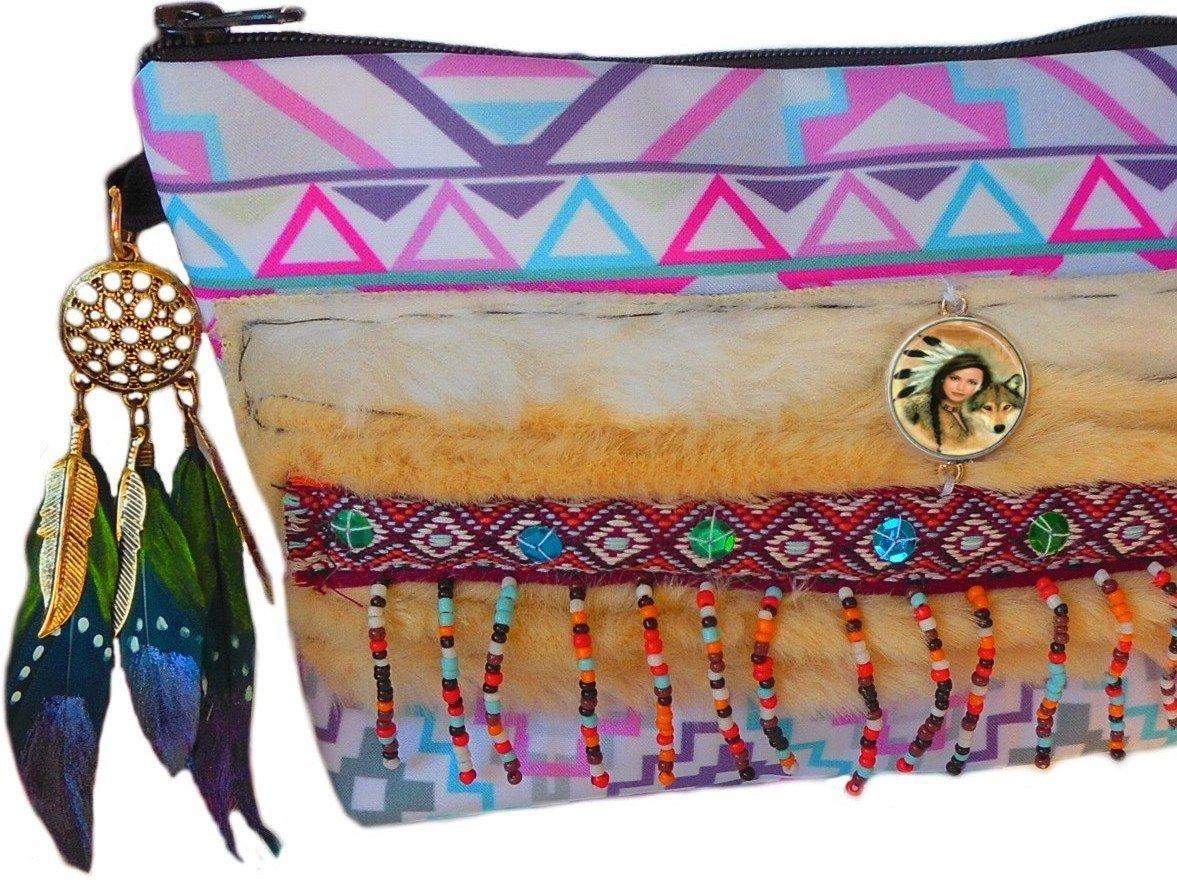 Trousse maquillage style ethnique, amé rindien, rose et bleu avec bijou amérindien